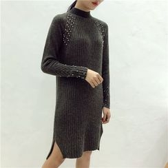 Octavia - Embellished Mock Neck Knit Dress