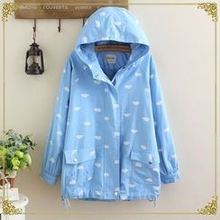 gabrielle - Cloud Print Hooded Parka