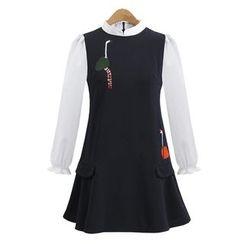 VIZZI - 刺繡假兩件連衣裙
