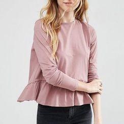 Rebecca - Frill Hem Open Back Long-Sleeve T-shirt