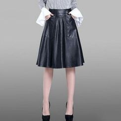 Manilu - Faux Leather Pleated Skirt