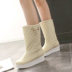 Pastel Pairs - Platform Quilted Mid Cuff  Boots