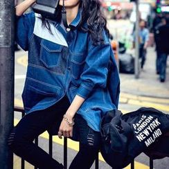 Athena - Panel Denim Trench Coat