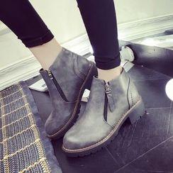 Yoflap - Side Zip Brogue Chunky Heel Ankle Boots