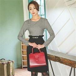 ode' - Mock Two-Piece Frill-Trim Dress