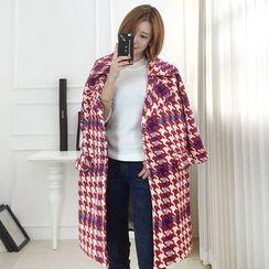 Seoul Fashion - Wide-Collar Plaid Coat