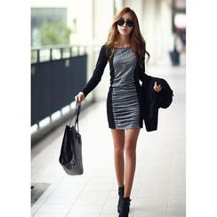 Dream a Dream - Long-Sleeve Color Block Sheath Dress