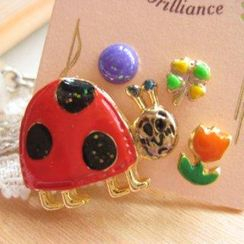 Fit-to-Kill - 4 pieces lovely beetle with flower earrings