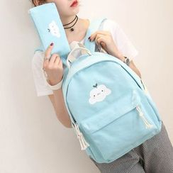 Bagsuki - Set: Cloud Print Canvas Backpack + Pouch