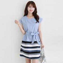 CLICK - Cuff-Sleeve Tied-Waist Dress