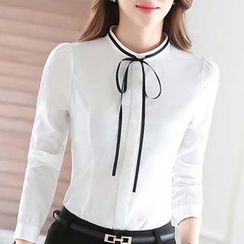 Eferu - Tie Neck Long Sleeve Chiffon Blouse
