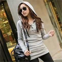 PIPPIN - Hooded Buttoned-Neck Top