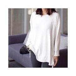 MASoeur - Round-Neck Slit-Hem T-Shirt