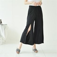 GLAM12 - Slit-Front Wide-Leg Pants