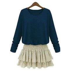 FURIFS - Long-Sleeve Mock Two-Piece Chiffon Dress