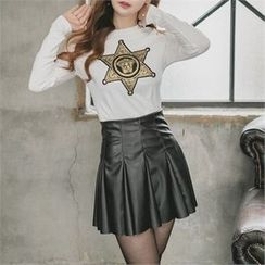 clubber - Faux-Leather Pleated Miniskirt