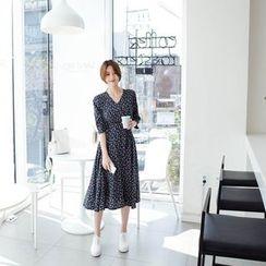mimi&didi - Lace-Up Detail Floral A-Line Midi Dress