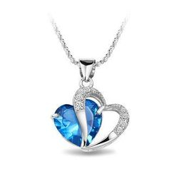 BELEC - White Gold Plated 925 Sterling Silver Heart-shaped Pendant with Blue Cubic Zirconia and 45cm Necklace