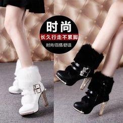 Yoflap - Fluffy Rhinestone Heeled Short Boots