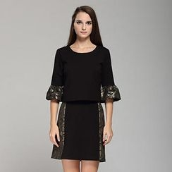 YiGelila - Set: Elbow-Sleeve Top + Patterned Panel Skirt