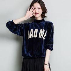 Romika - Letter Velvet Sweatshirt