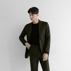 Seoul Homme - Flap-Pocket Slim-Fit Blazer