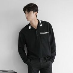 Seoul Homme - Stripe-Trim Long-Sleeve Polo Shirt