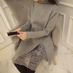 CHERJOE - Lace Underlay Mock Neck Knit Dress