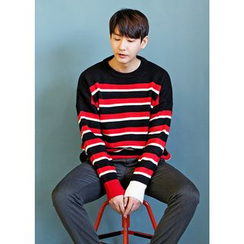 GERIO - Round-Neck Stripe Knit Top