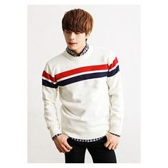 HOTBOOM - Crew-Neck Stripe-Trim Knit Top