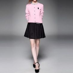 Alaroo - Set: Contrast Trim Cardigan + Faux Suede A-Line Skirt