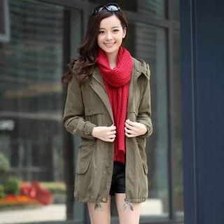 Mooiee - Drawstring Hooded Parka