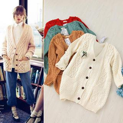 11.STREET - V-Neck Cable-Knit Cardigan