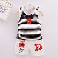 POMME - Kids Set: Bow Stripe Tank Top + Number Shorts