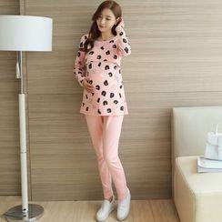 NEUF - Maternity Pajama Set: Long-Sleeve Printed T-Shirt + Pants
