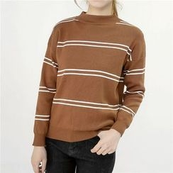 Honey House - Stripe Mock-neck Knit Top