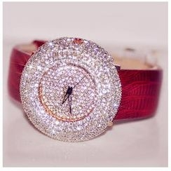 Nanazi Jewelry - Rhinestone Genuine Leather Strap Watch