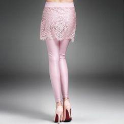 amorAdela - 内搭裤假两件蕾丝裙