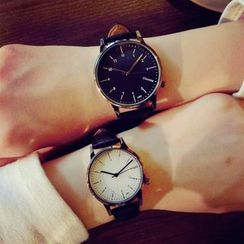 InShop Watches - Faux-Leather Strap Couple Watch