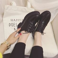 kokoin - Faux Patent Leather Platform Boat Shoes
