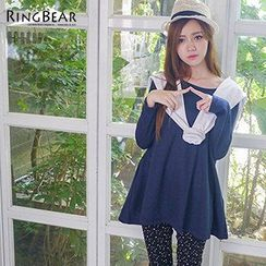 RingBear - Long-Sleeve Mock Two Piece Frilled Tunic