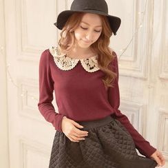 Tokyo Fashion - Long-Sleeve Lace-Collar Top