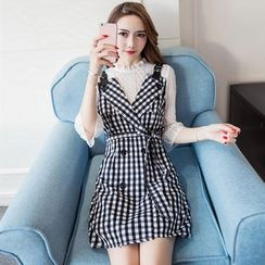 Cherry Dress - Plaid Mock Two-piece Long-Sleeve Dress
