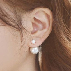 Best Jewellery - Double-Sided Faux Pearl Stud Earrings