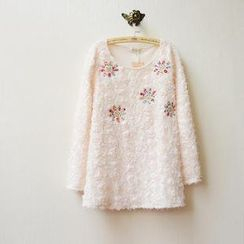Tulander - Flower Appliqué Rosette Long-Sleeve Top
