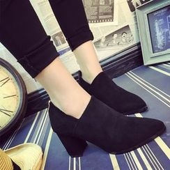 Chryse - Block Heel Pointed Ankle Boots