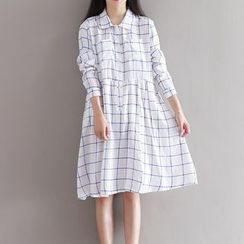 Snow Flower - Check Long-Sleeve Shirtdress