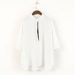 Ranche - Stand Collar 3/4-Sleeve Blouse