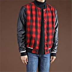 THE COVER - Snap-Button Checked-Panel Flight Jacket