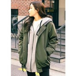 J-ANN - Hooded Snap-Button Jacket